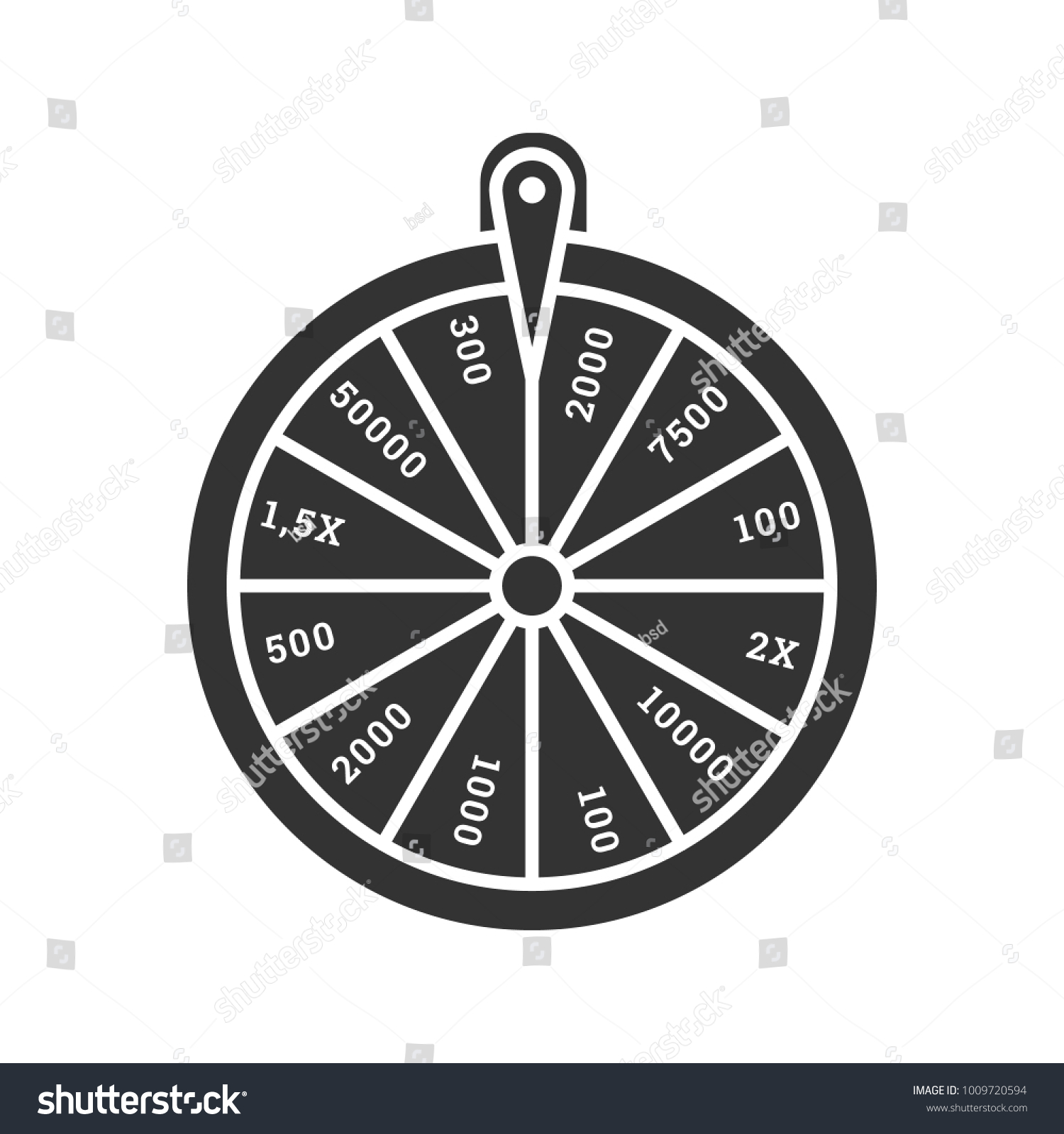 Wheel Fortune Glyph Icon Roulette Lucky Stock Illustration