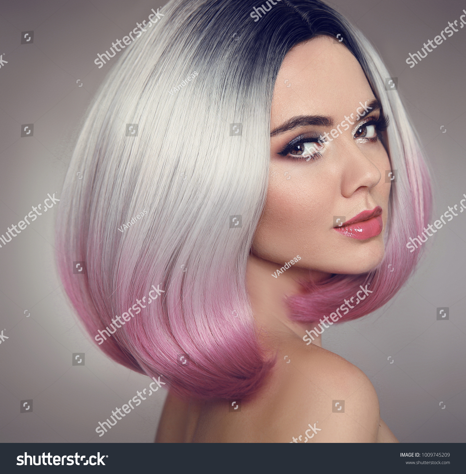 Colored Ombre Bob Hair Extensions Beauty Stock Photo Edit Now