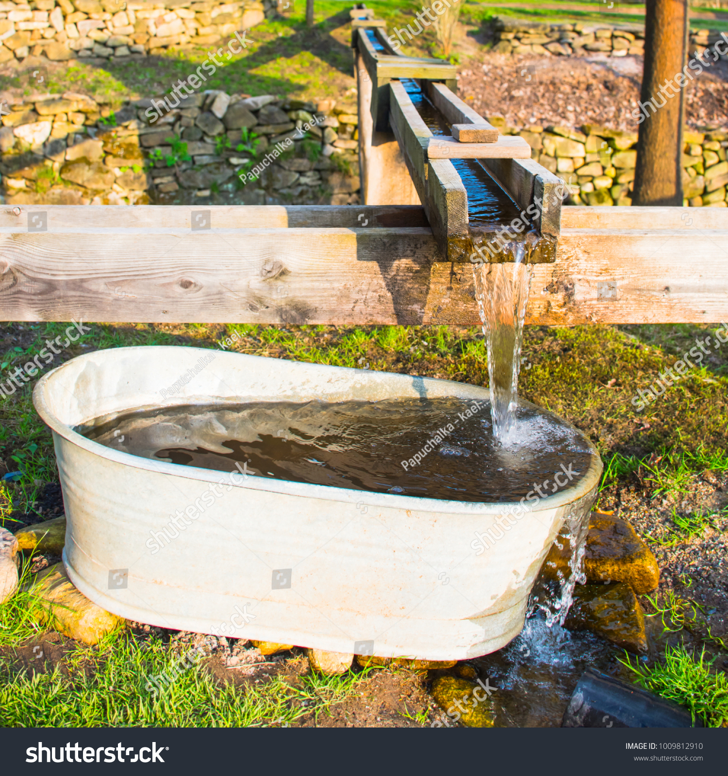 Home Made Wooden Rain River Wildwater Stock Photo & Image (Royalty ...