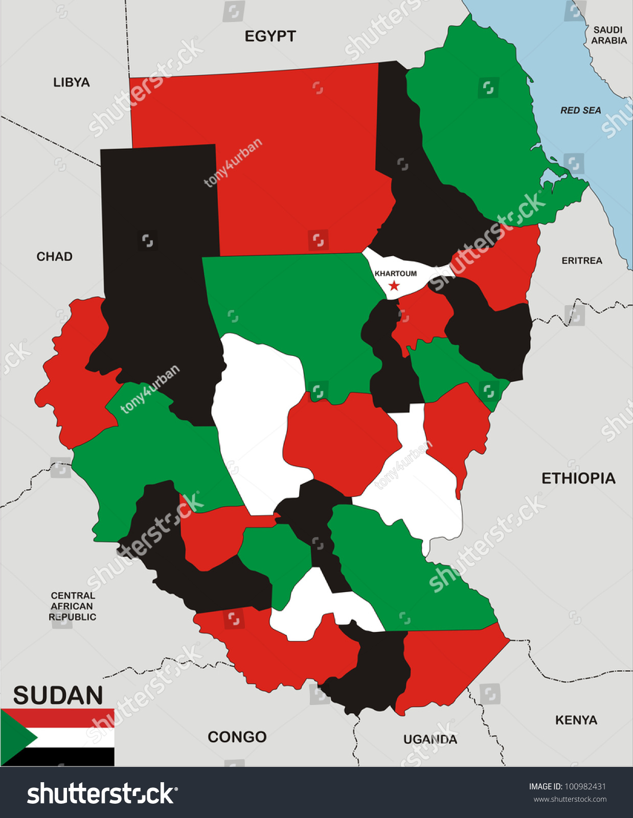 Political Map Of Sudan.Very Big Size Political Map Sudan Stock Illustration 100982431