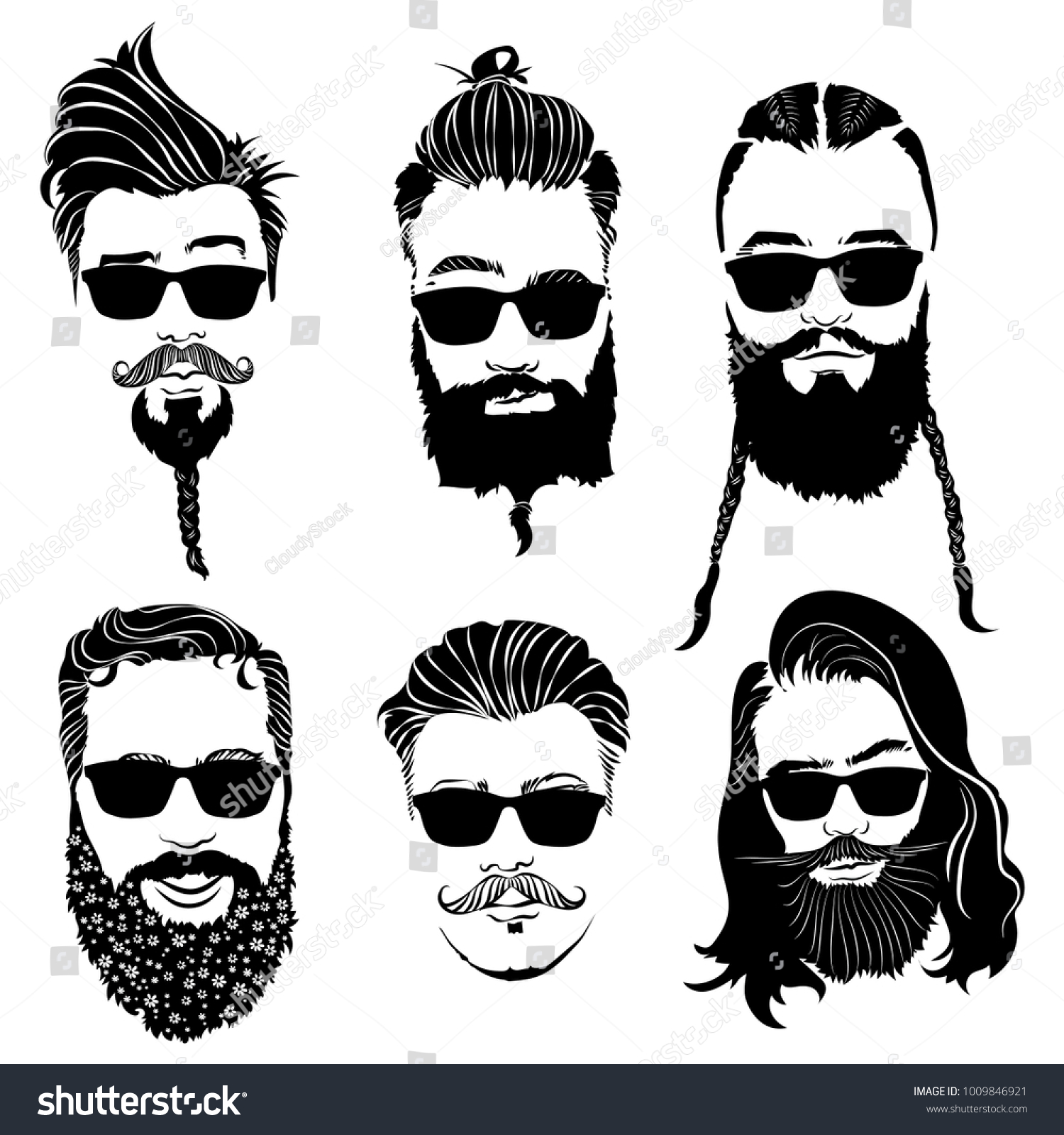 Set Of Hairstyles For Men In Glasses. Collection Of Black Silhouettes Of  Hairstyles And Beards