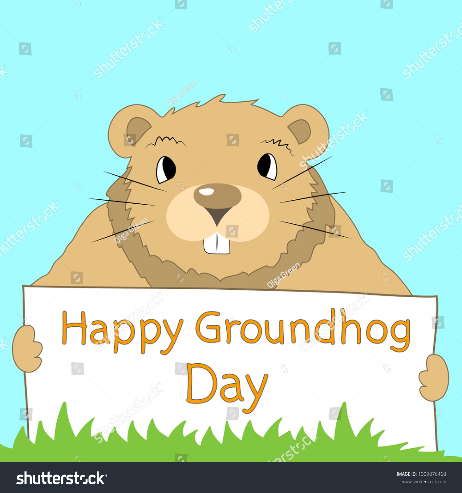 Hand Drawn Greeting Card Happy Groundhog Stock Vector Royalty Free