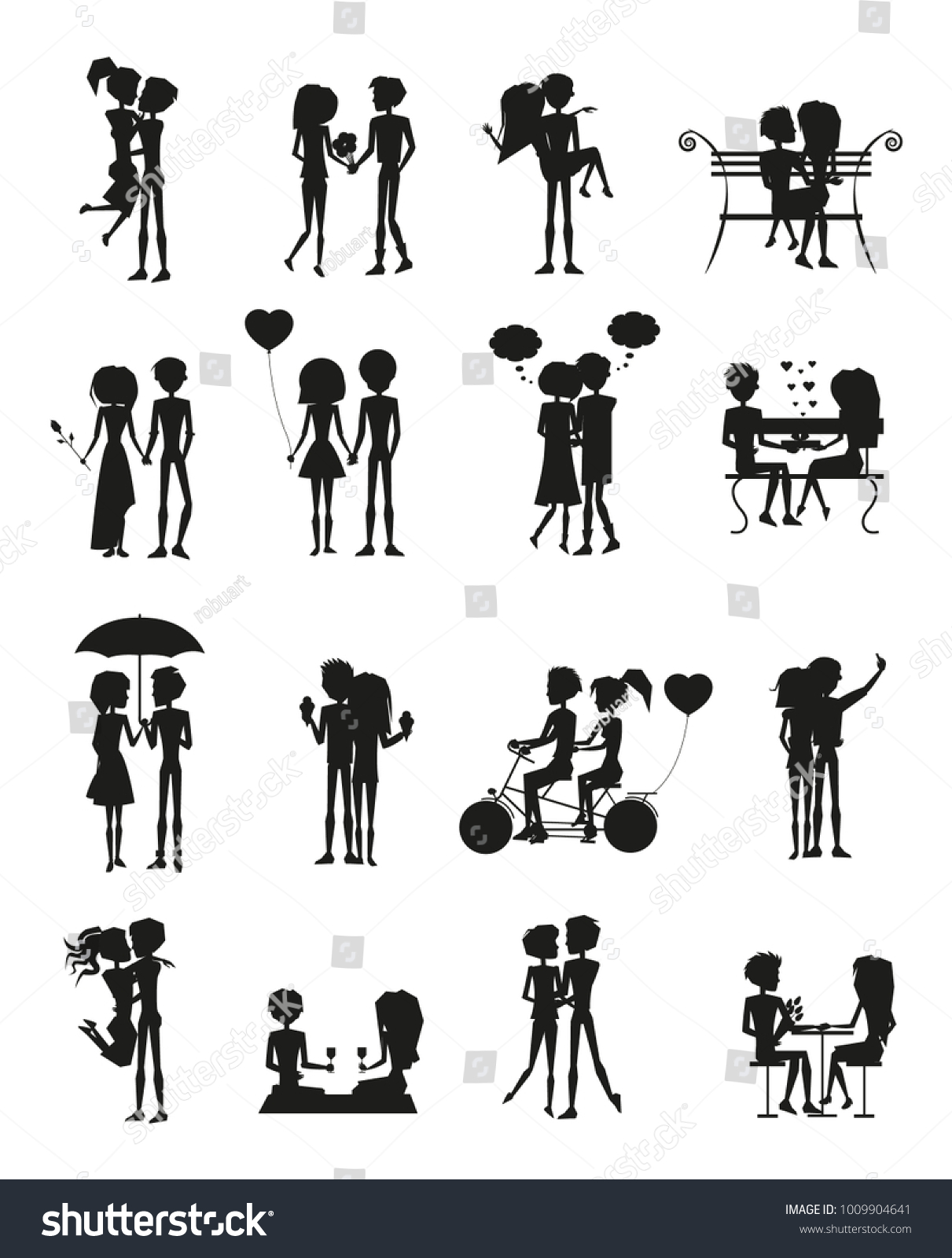 Couples Love Silhouettes Set People Sitting Stock Vector ... for People On Bench Silhouette  300lyp