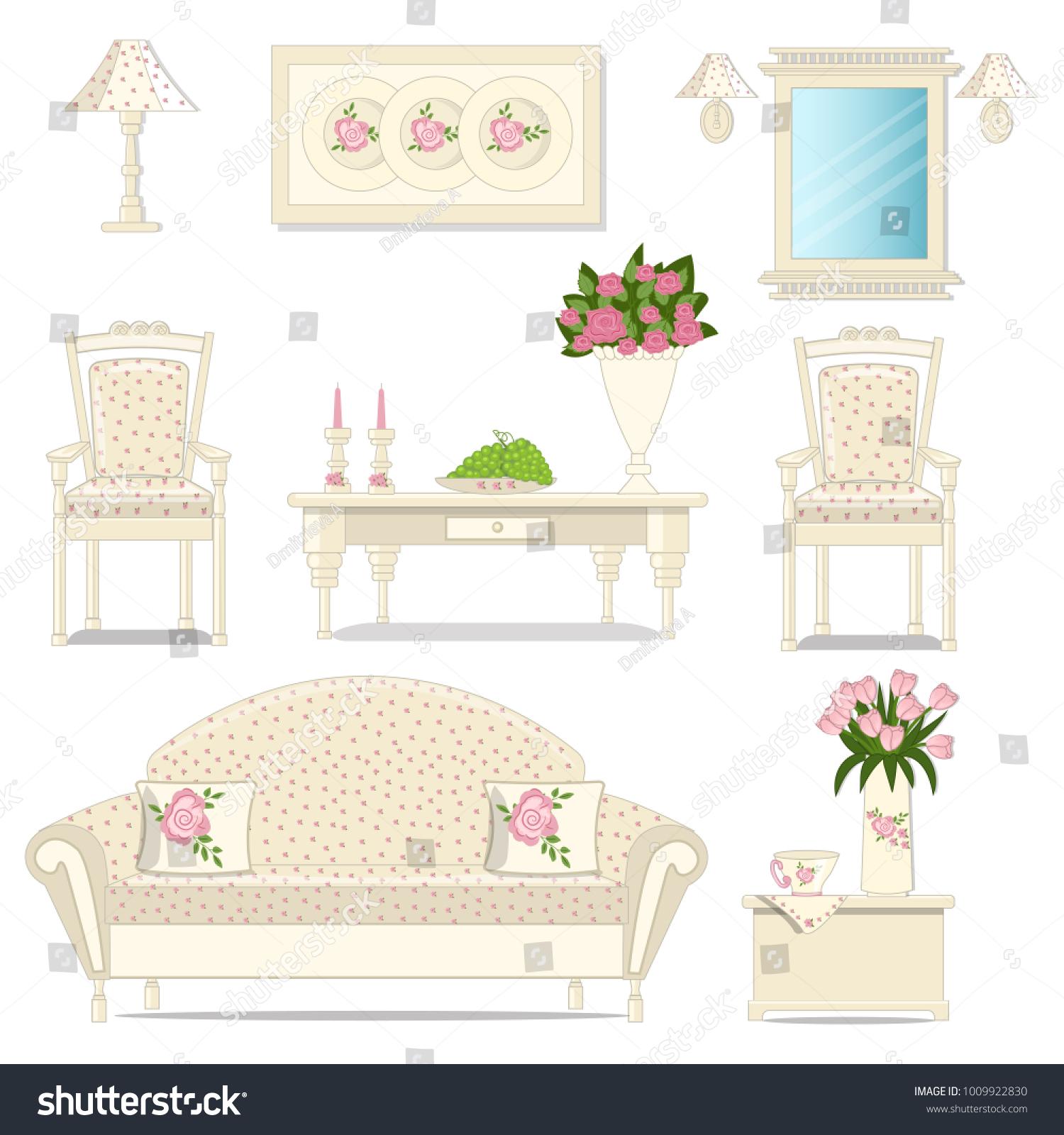 Interior Living Room Set Antique Furniture Stock Vector 1009922830 ...