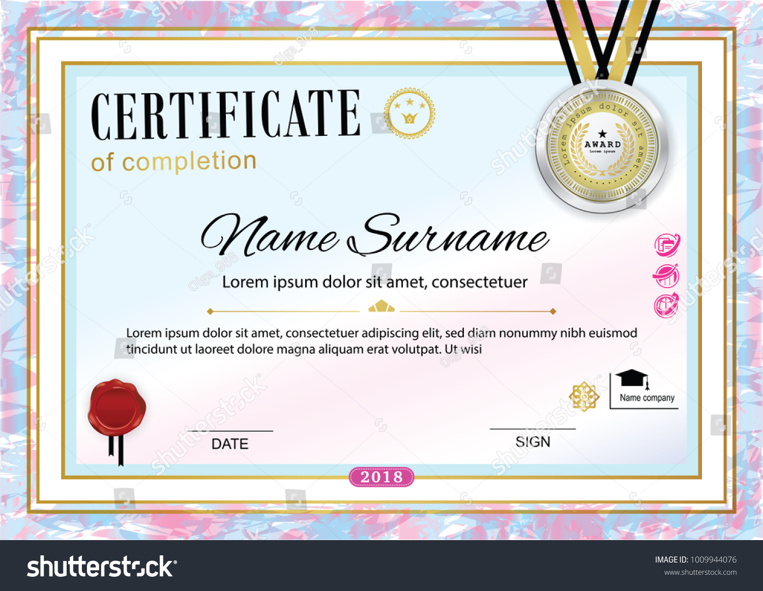 Official Certificate Badge Wafer Vector Template Stock Vector