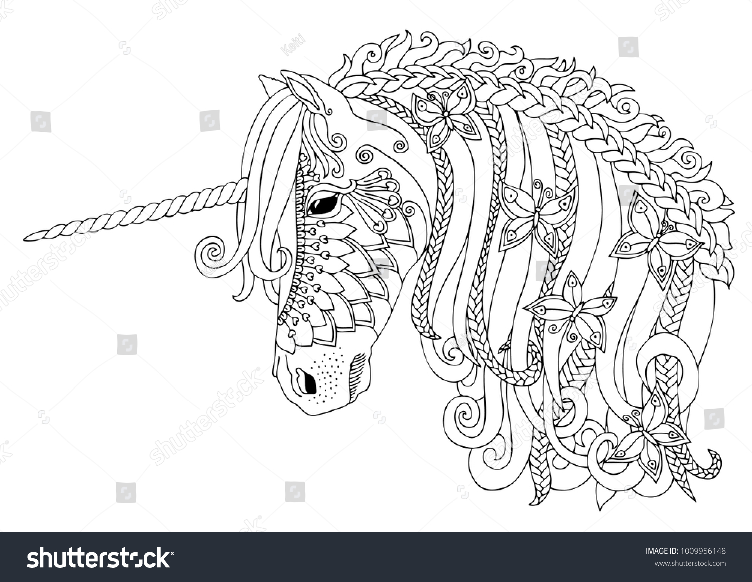 Hand Drawn Fantasy Horse Sketch For Anti Stress Adult Coloring