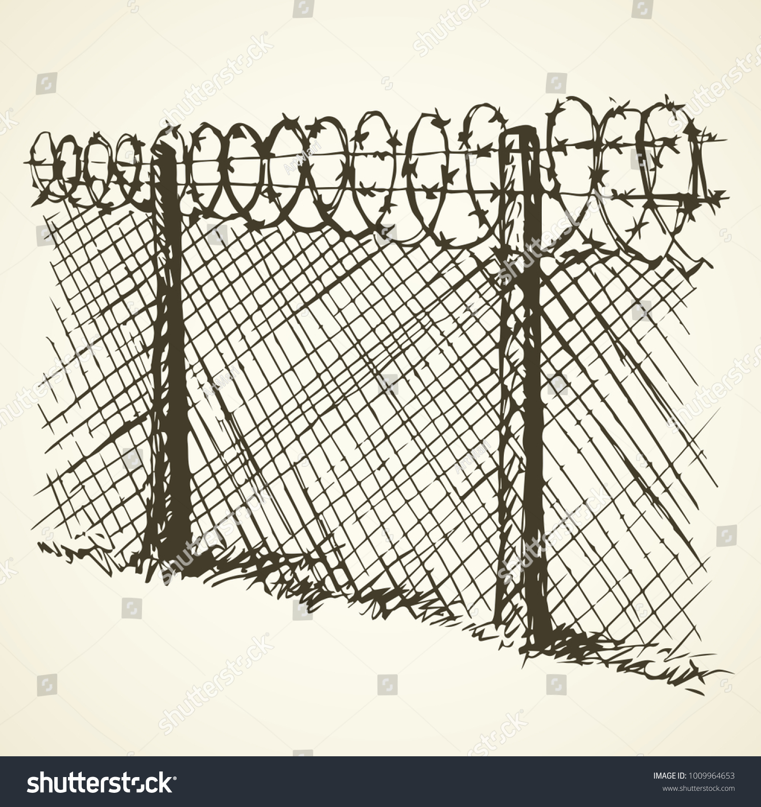 Barbed Wire Chain Link Fence Black Stock Photo (Photo, Vector ...