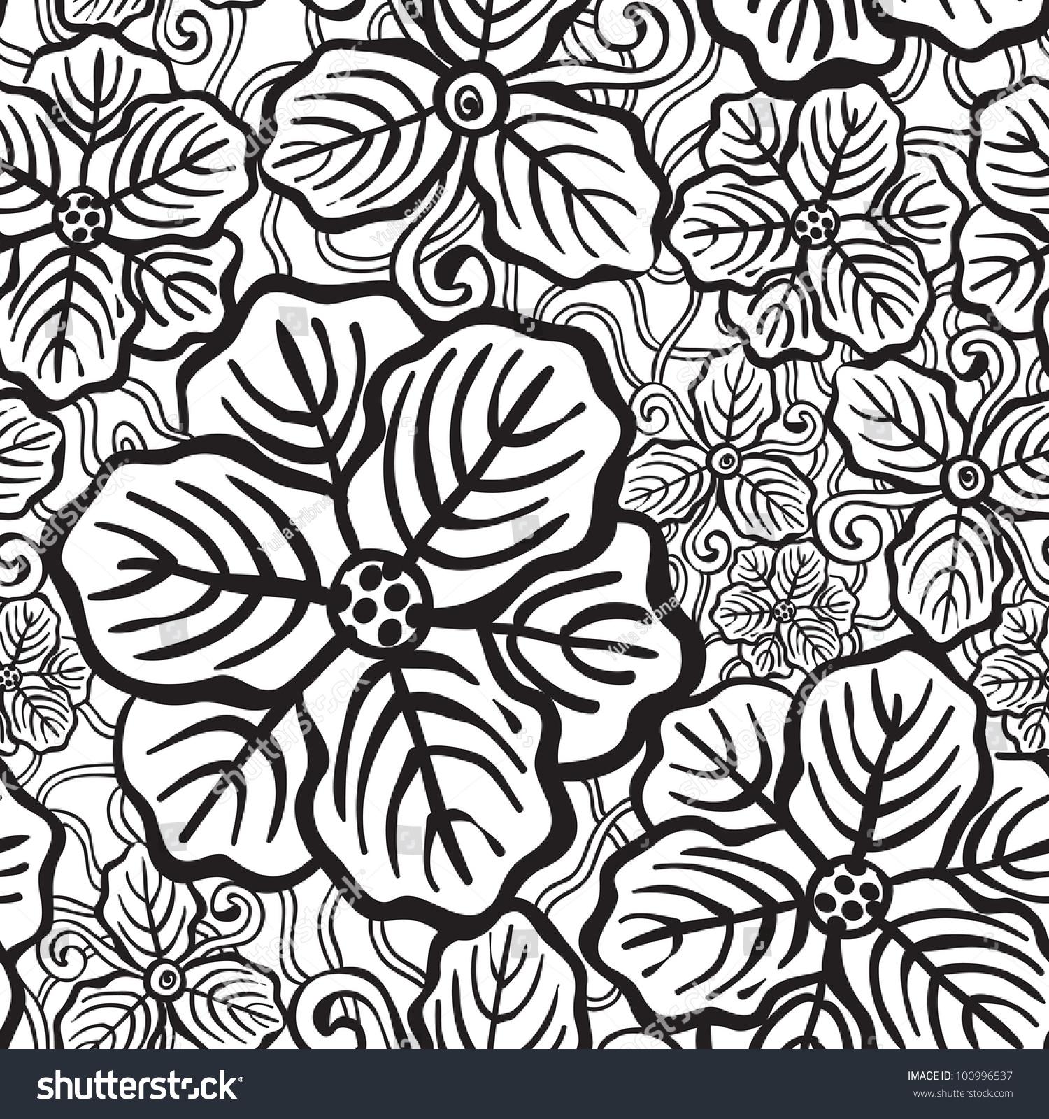 Hand drawn floral wallpaper black white stock vector 100996537 hand drawn floral wallpaper with black and white flowers mightylinksfo