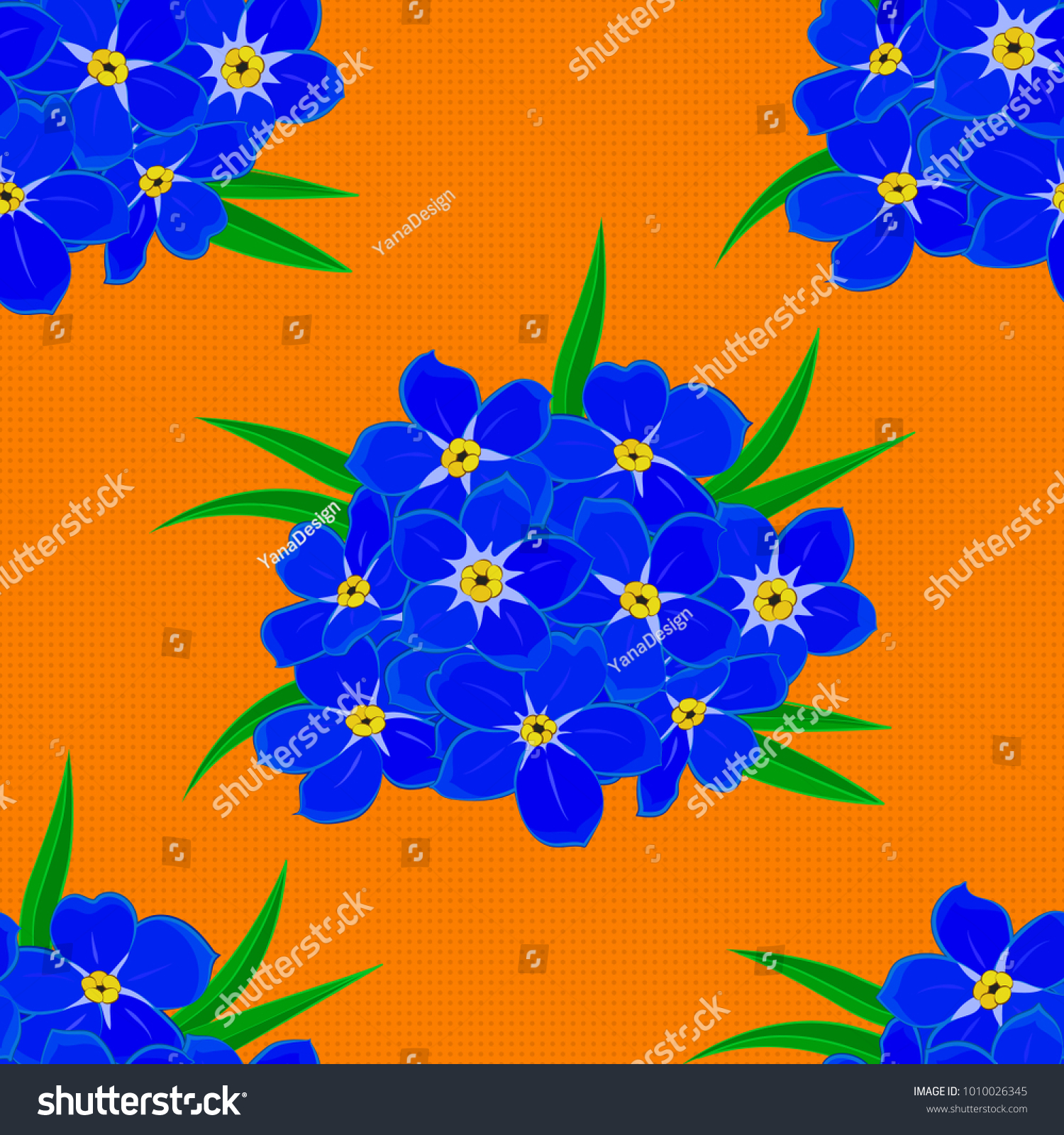 Silk Scarf Forgetmenot Flowers Blue Green Stock Illustration