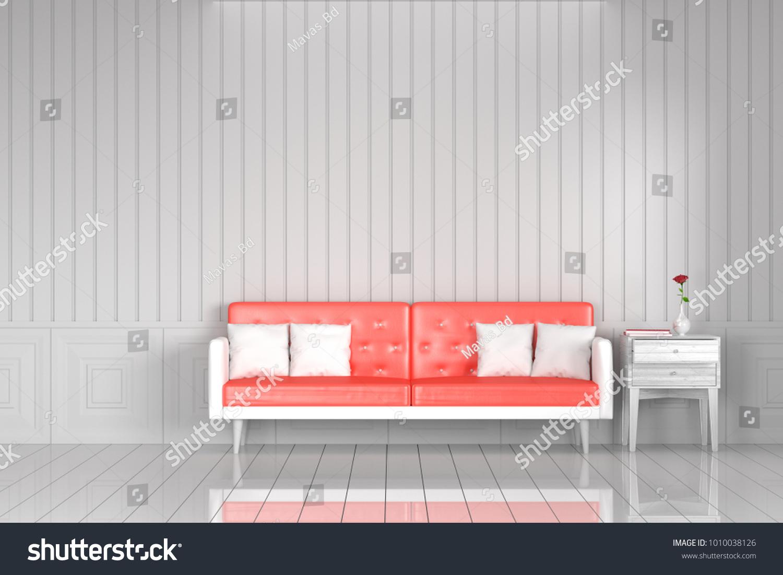 Red Sofa White Living Room Vintage Stock Illustration 1010038126 ...