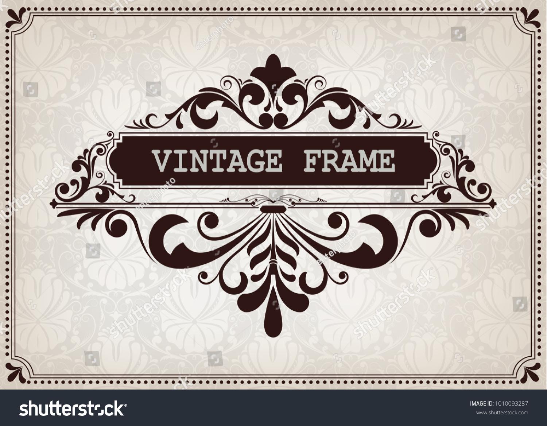 Vintage frame beautiful filigree decorative border stock vector vintage frame with beautiful filigree decorative border luxury greeting cards with pattern background kristyandbryce Images