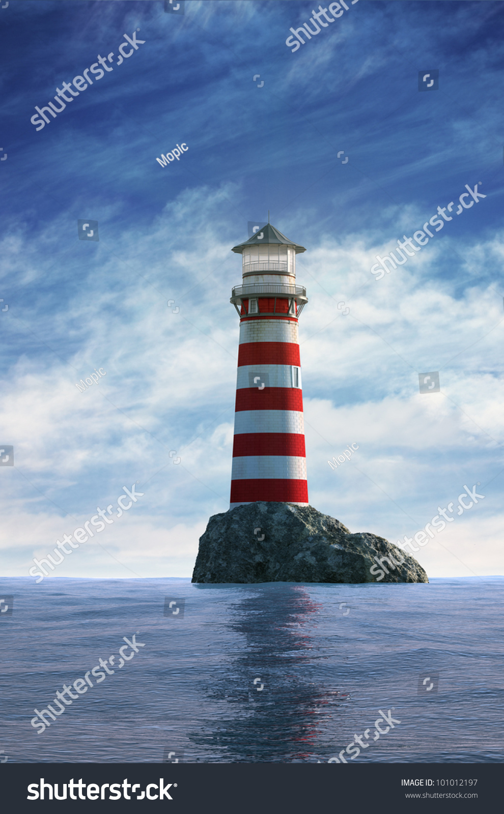 Day View Red White Old Lighthouse Stock Illustration