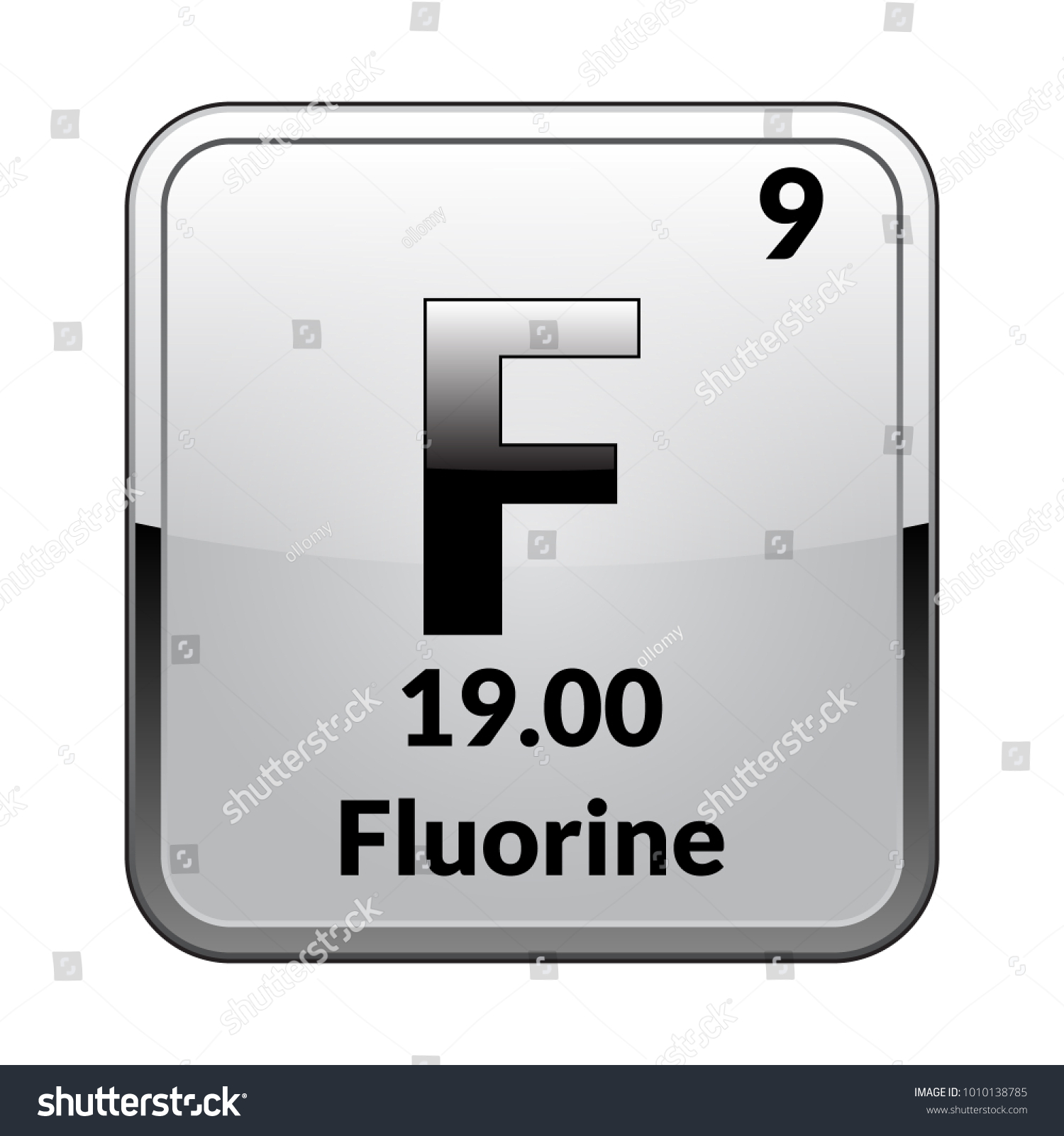 Fluorine Symbolemical Element Of The Periodic Table On A Glossy