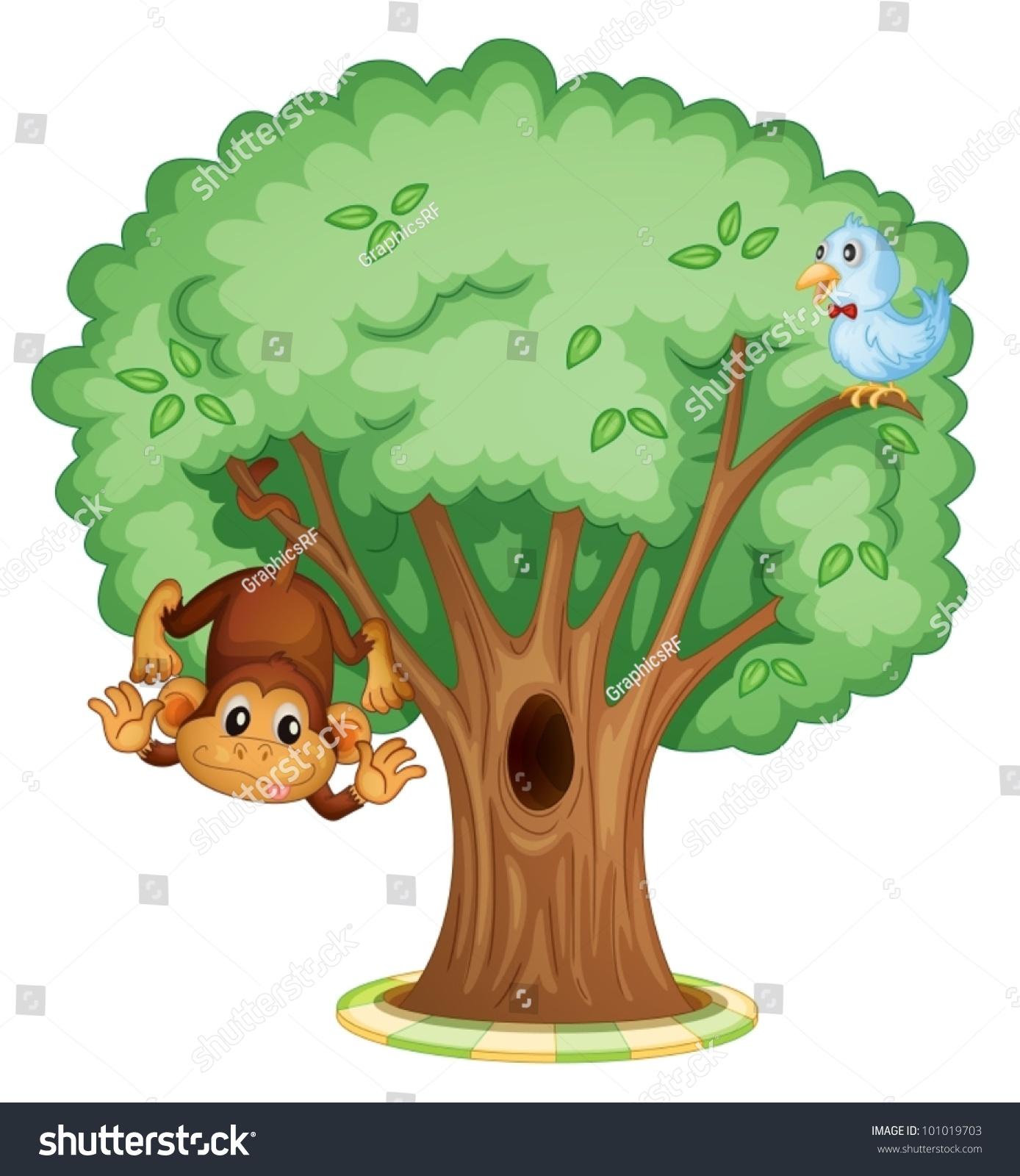 Monkey Bird Tree Stock Vector Royalty Free 101019703 Shutterstock
