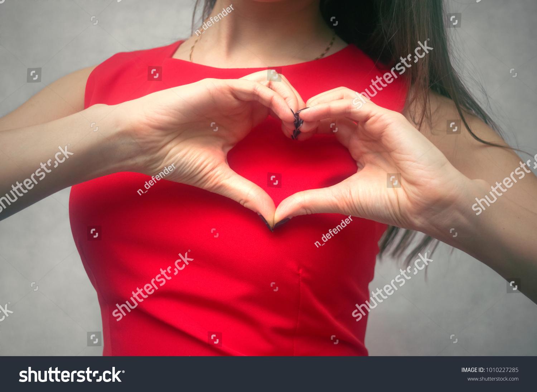 Love Heart Girl Holding Hands Shape Stock Photo 1010227285 ...