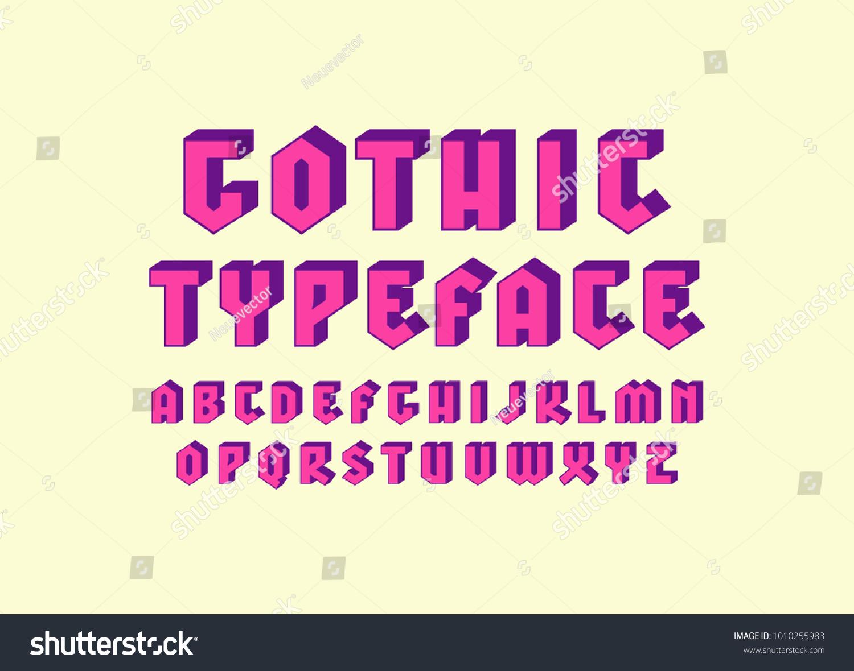 Decorative Sans Serif Bulk Font Gothic Stock Vector (Royalty Free ...