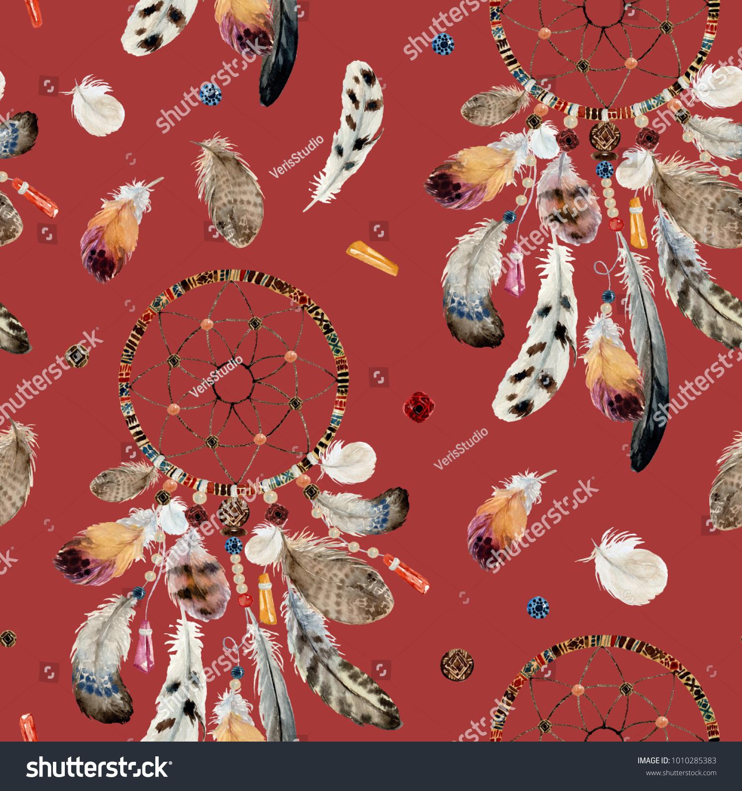 Seamless Watercolor Ethnic Boho Pattern Dream Stock Illustration ...