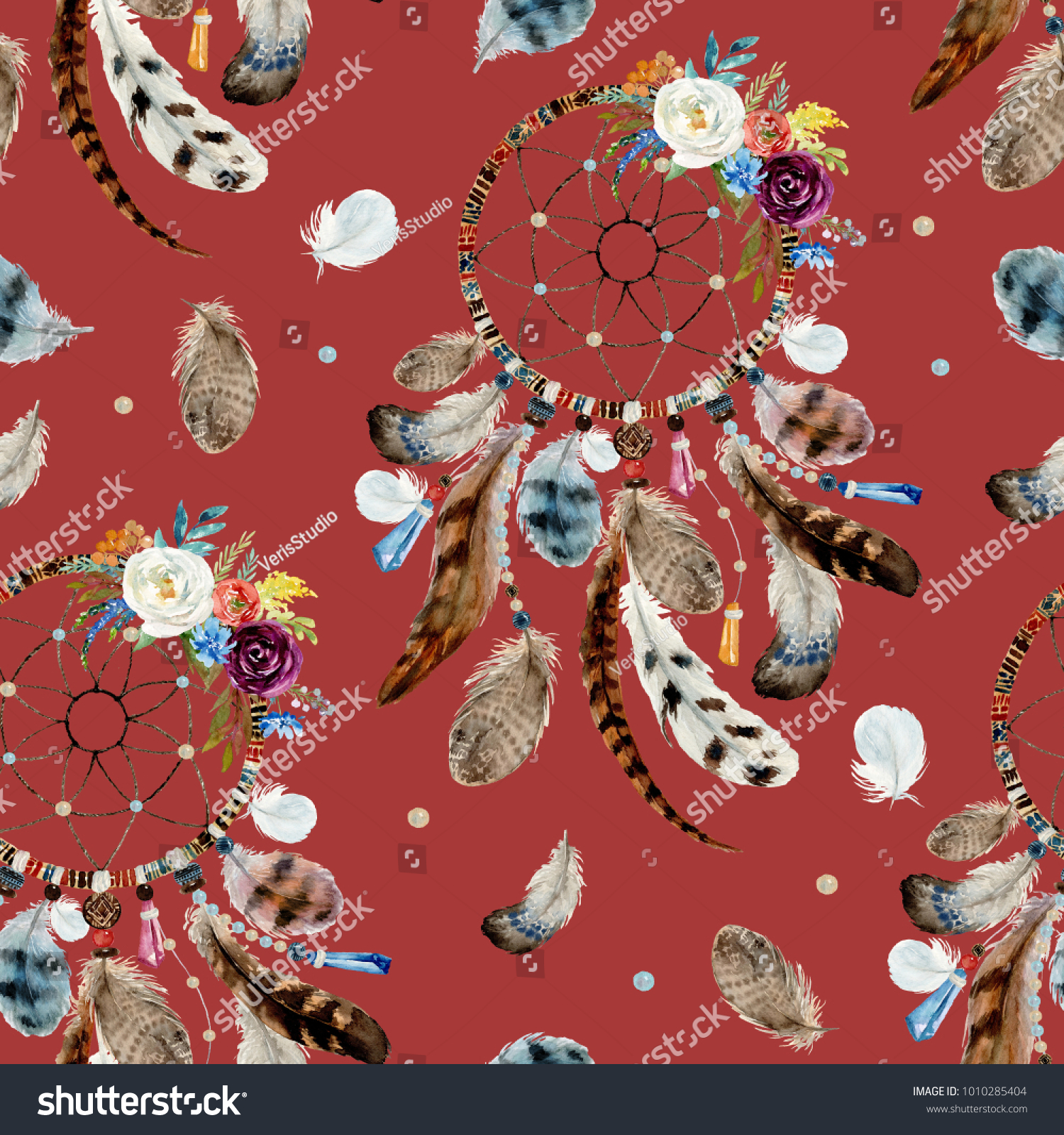 Seamless Watercolor Ethnic Boho Floral Pattern Stock Illustration ...