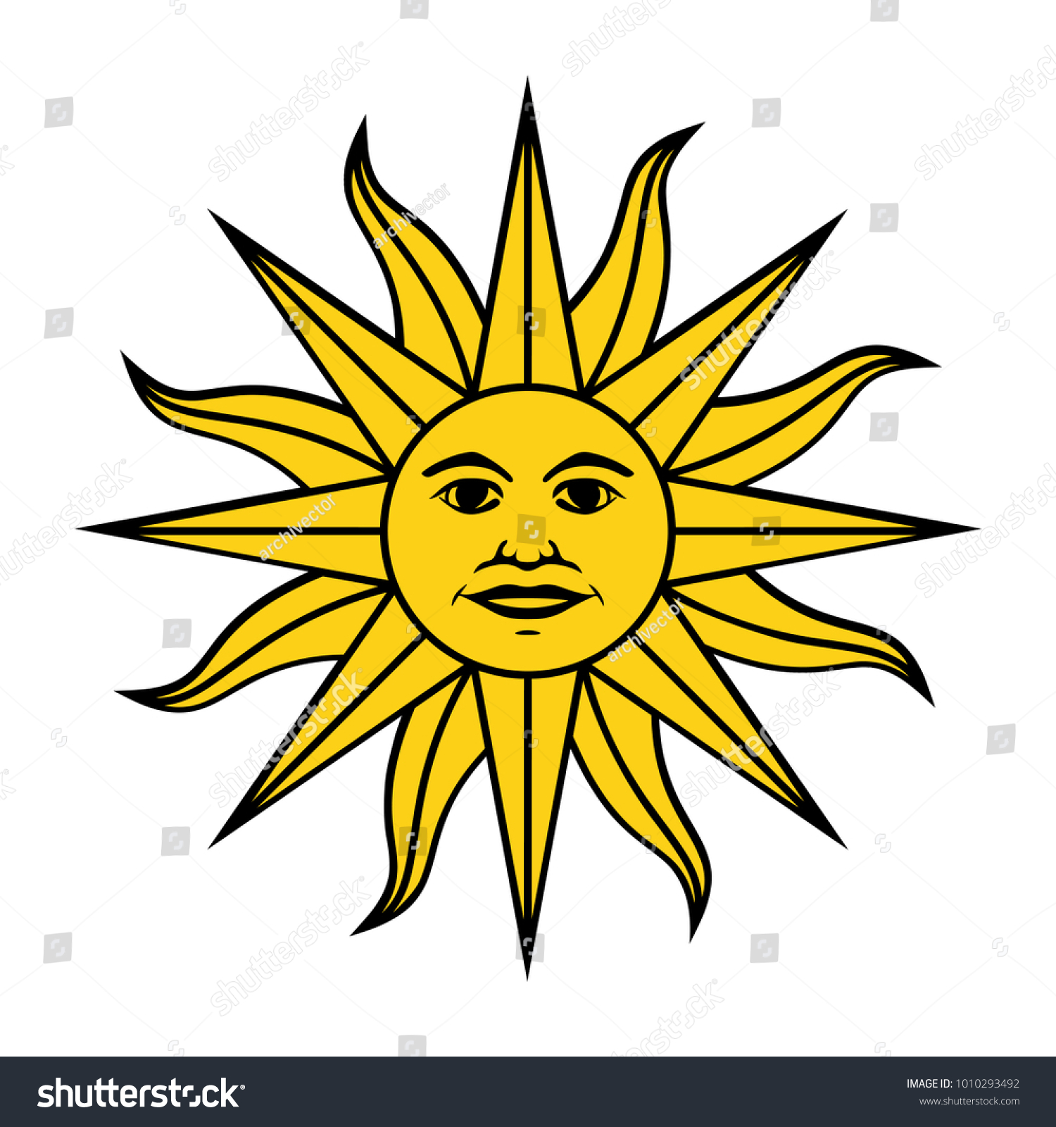 Inca Sun God Inti Sun May Stock Vector Royalty Free 1010293492