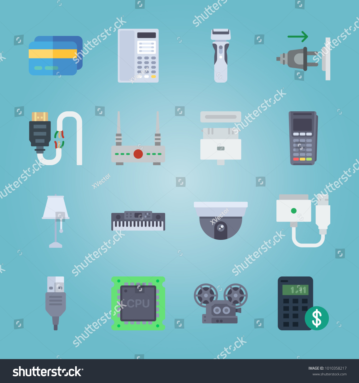 Icon Set About Gadgets Projector Cable Stock Vector 1010358217 ...