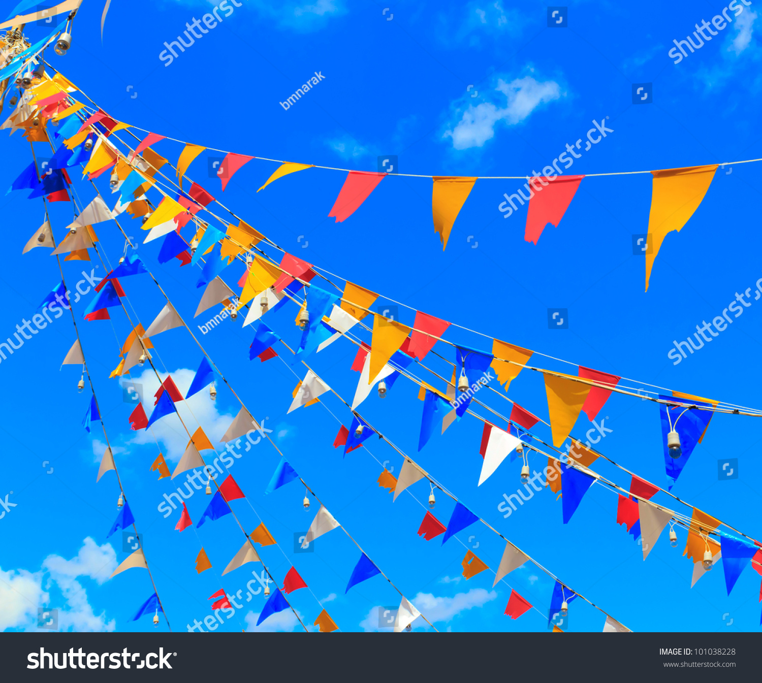 colorful small triangular decorative flags pennons - Decorative Flags