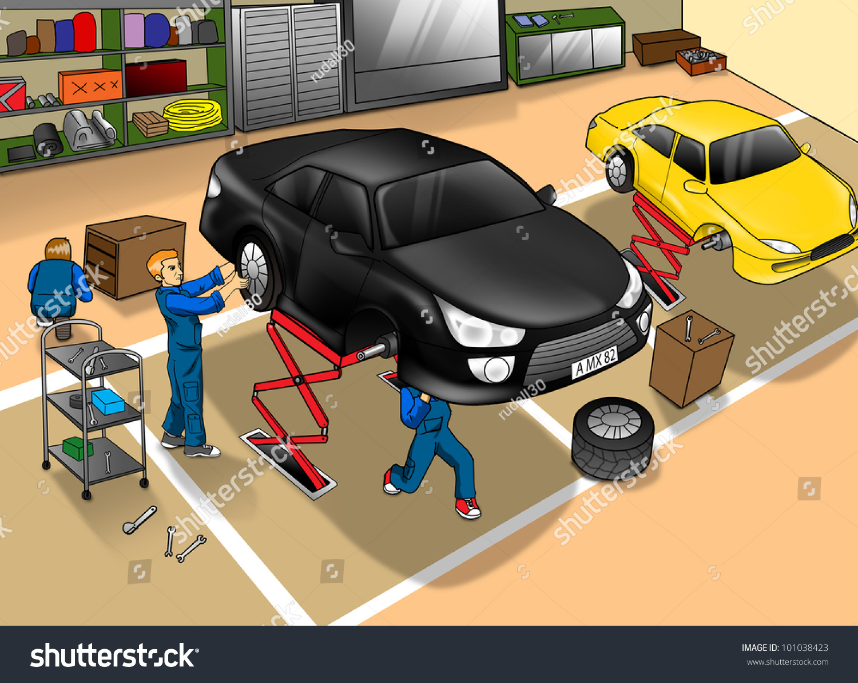 Cartoon Illustration Automobile Repair Shop Stock