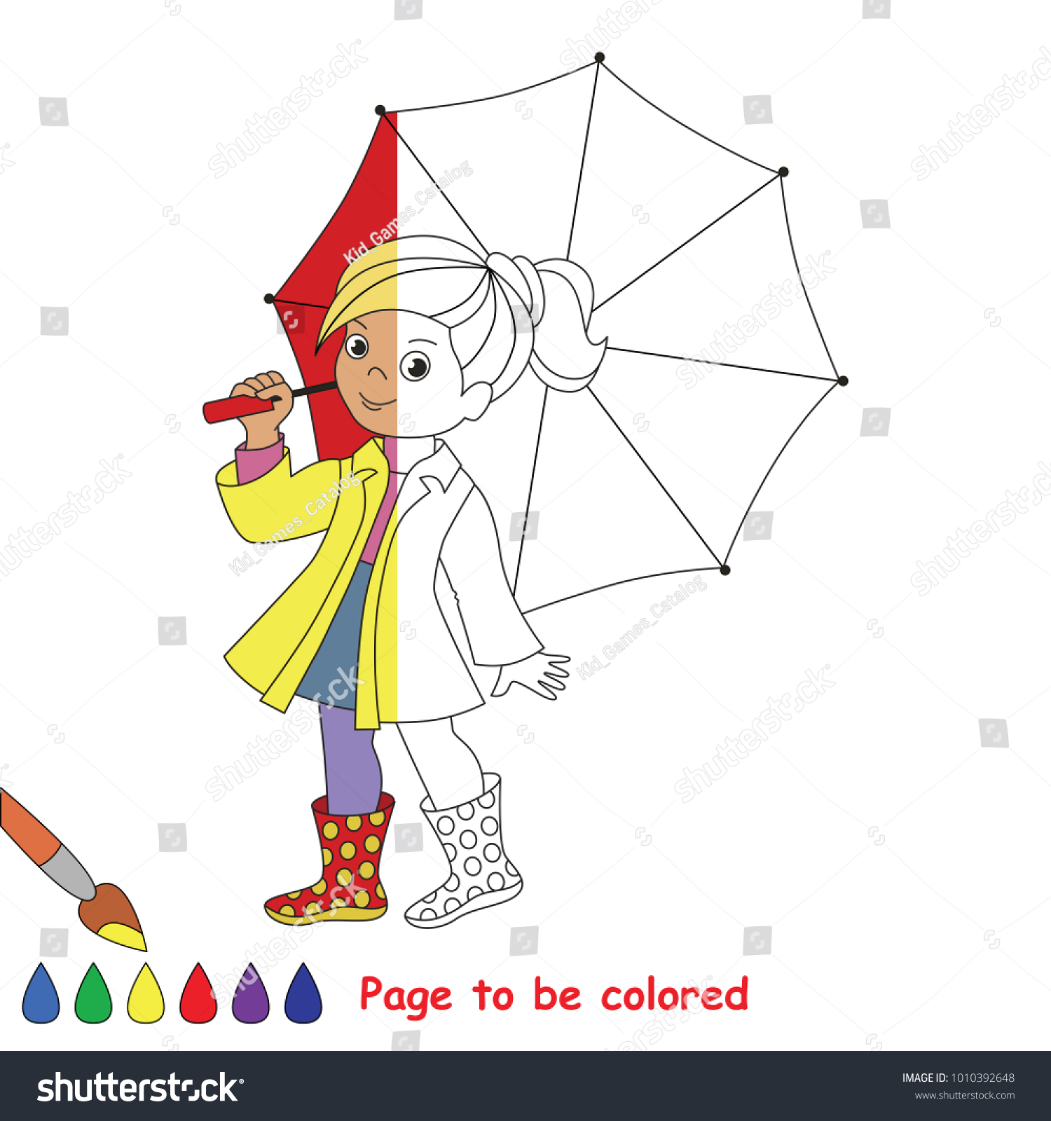 Cute Small Girl With Red Umbrella The Coloring Book To Educate Preschool Kids Easy