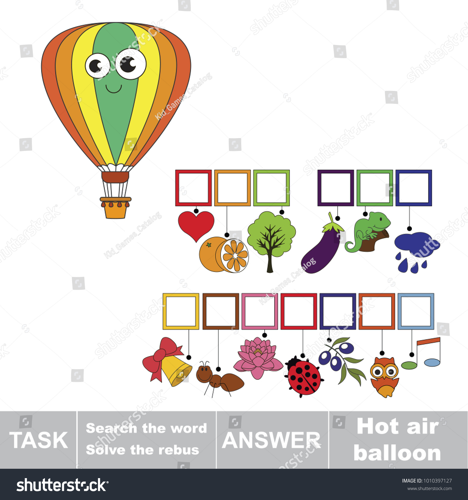 Educational Puzzle Game For Kids Find The Hidden Word Hot Air Balloon