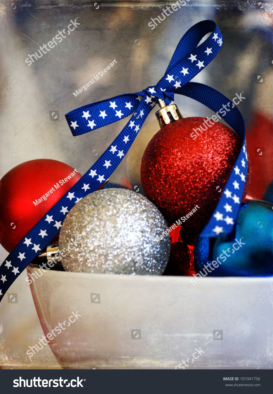Red white and blue christmas ornaments - Save To A Lightbox