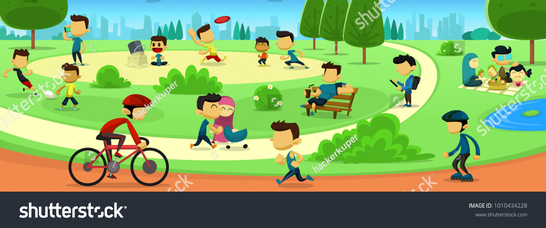 vector cartoon park family activity people stock vector hd (royalty