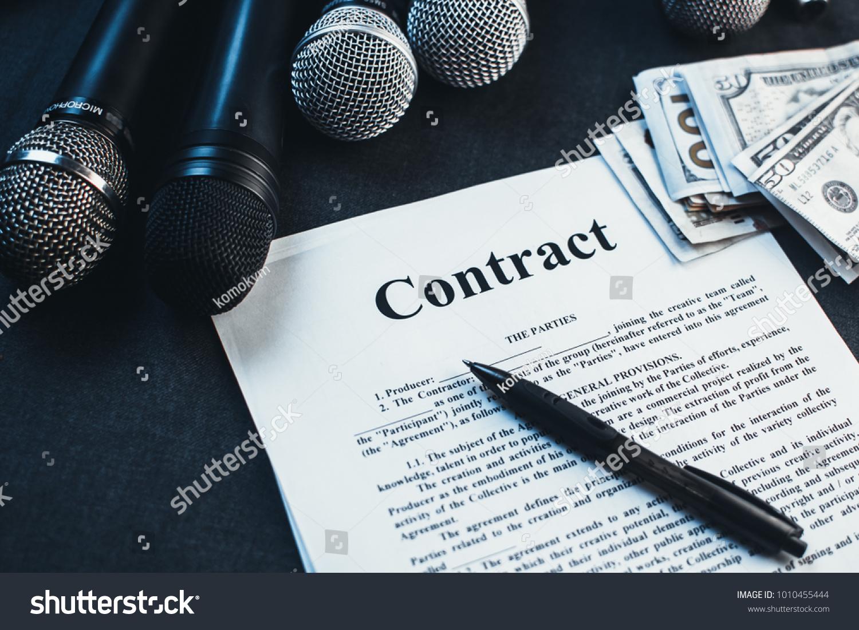 Microphones Contract Between Producer Artist Stock Photo Edit Now ...