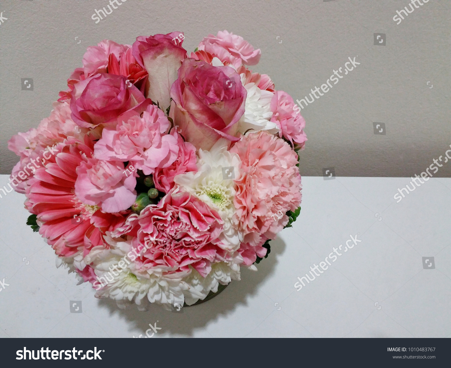 Pink Flower Bouquet Rose Daisy Gerbera Stock Photo (Royalty Free ...