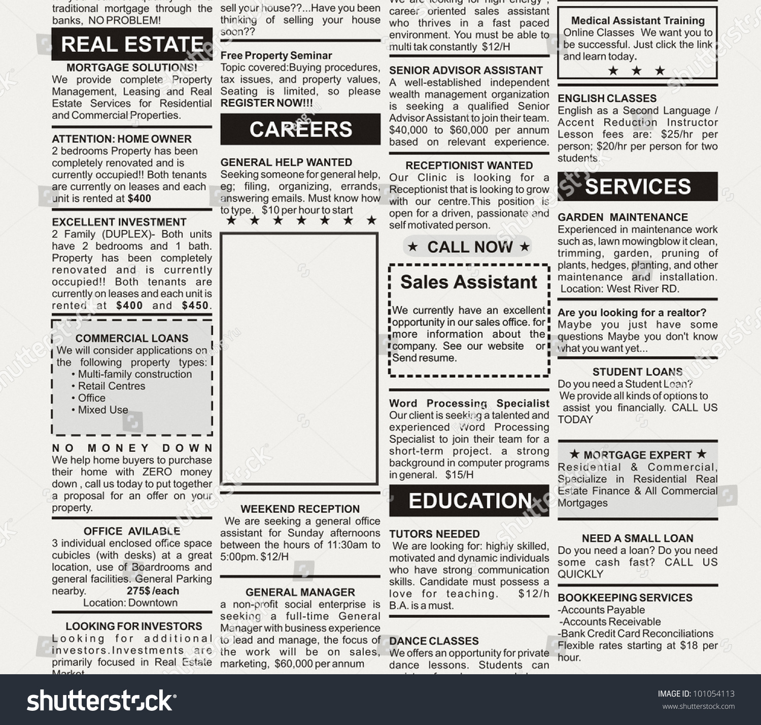 Fake classified ad newspaper business concept stock photo for Paper advertisement templates