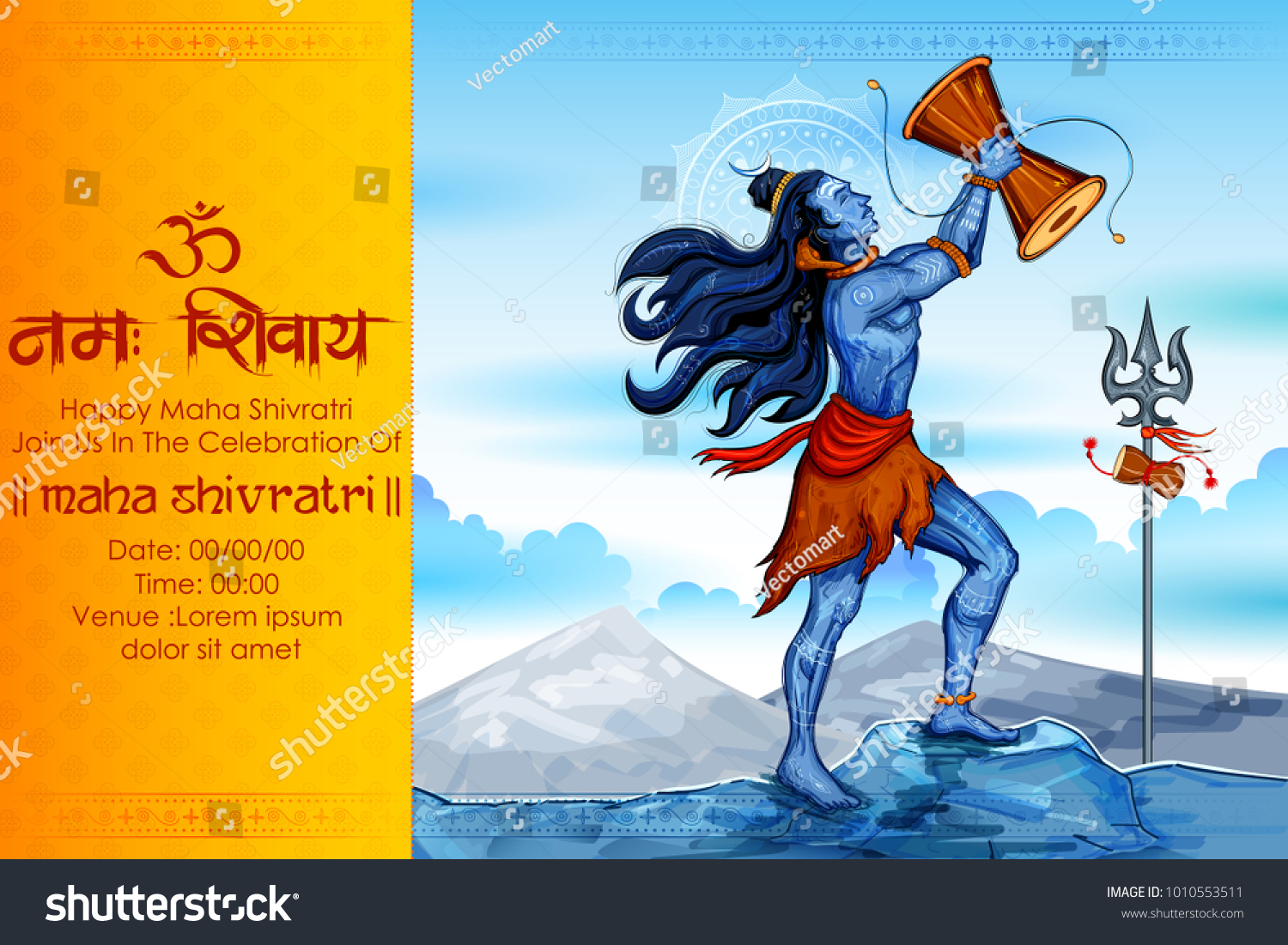 Illustration lord shiva indian god hindu stock vector 1010553511 illustration of lord shiva indian god of hindu for shivratri or mahashivratri with message om biocorpaavc Image collections