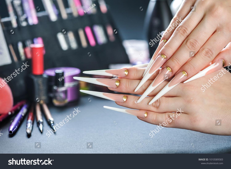 Luxury Woman Long Nails Long Stiletto Stock Photo (Royalty Free ...