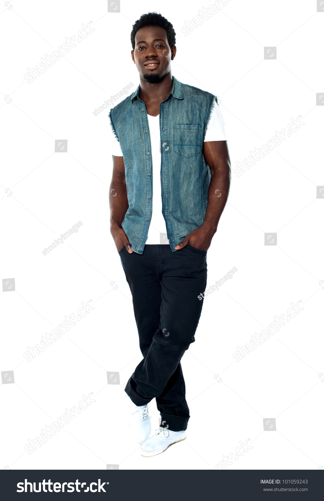 Full Body Pose Young African Male Stock Photo Edit Now 101059243