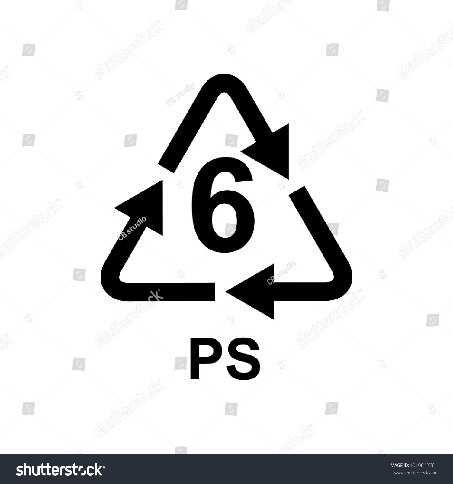 Plastic Recycling Symbol 6 Ps Stock Vector 2018 1010612761