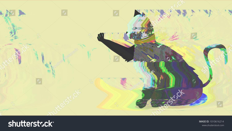 Cat Glitch Art Paint Splatter Cat Stock Illustration 1010616214 ...