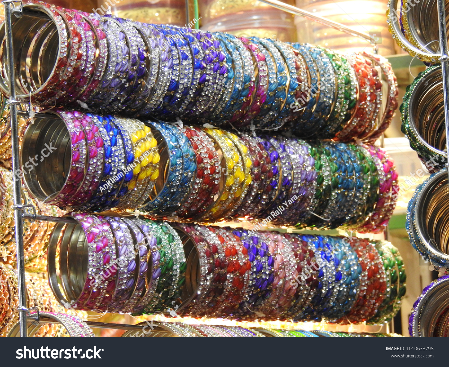 Beautiful Colorful Bangles Market Hands Wearing Stock Photo ...