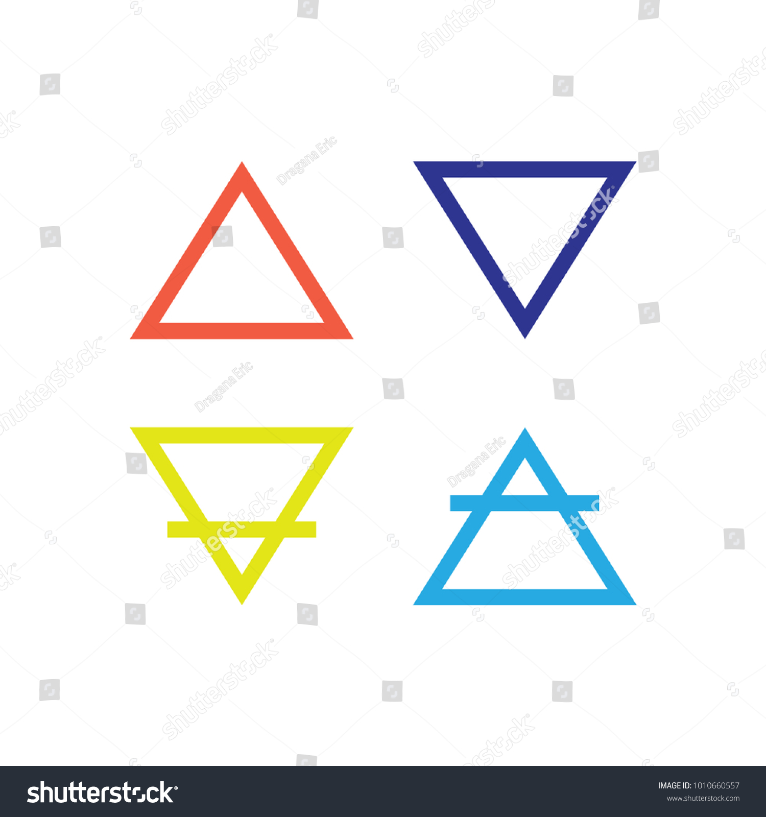 Four Elements Icons Line Symbols Vector Stock Vector Royalty Free