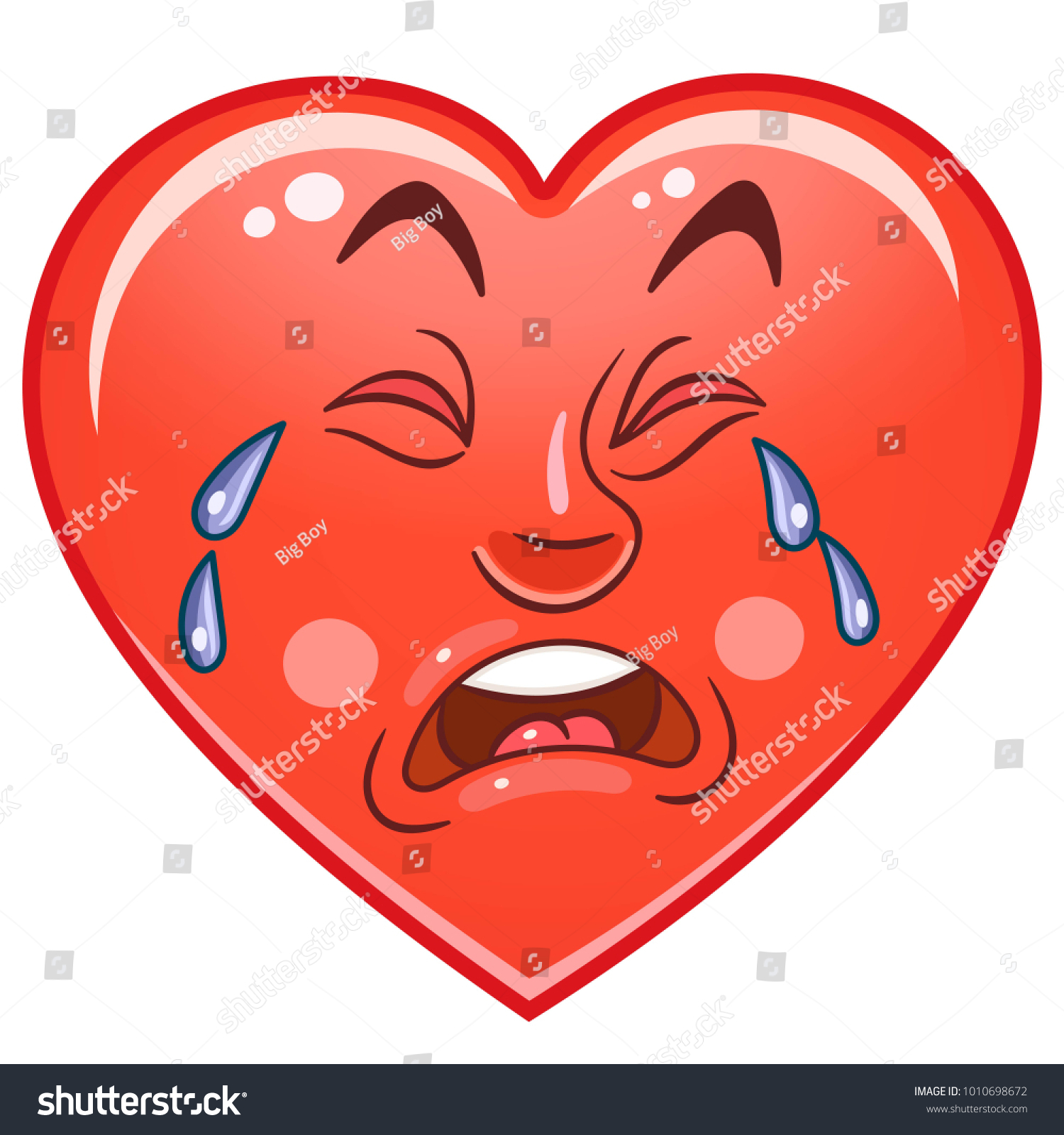 Cartoon Red Lonely Heart Crying Emoticons Stock Vector Royalty Free