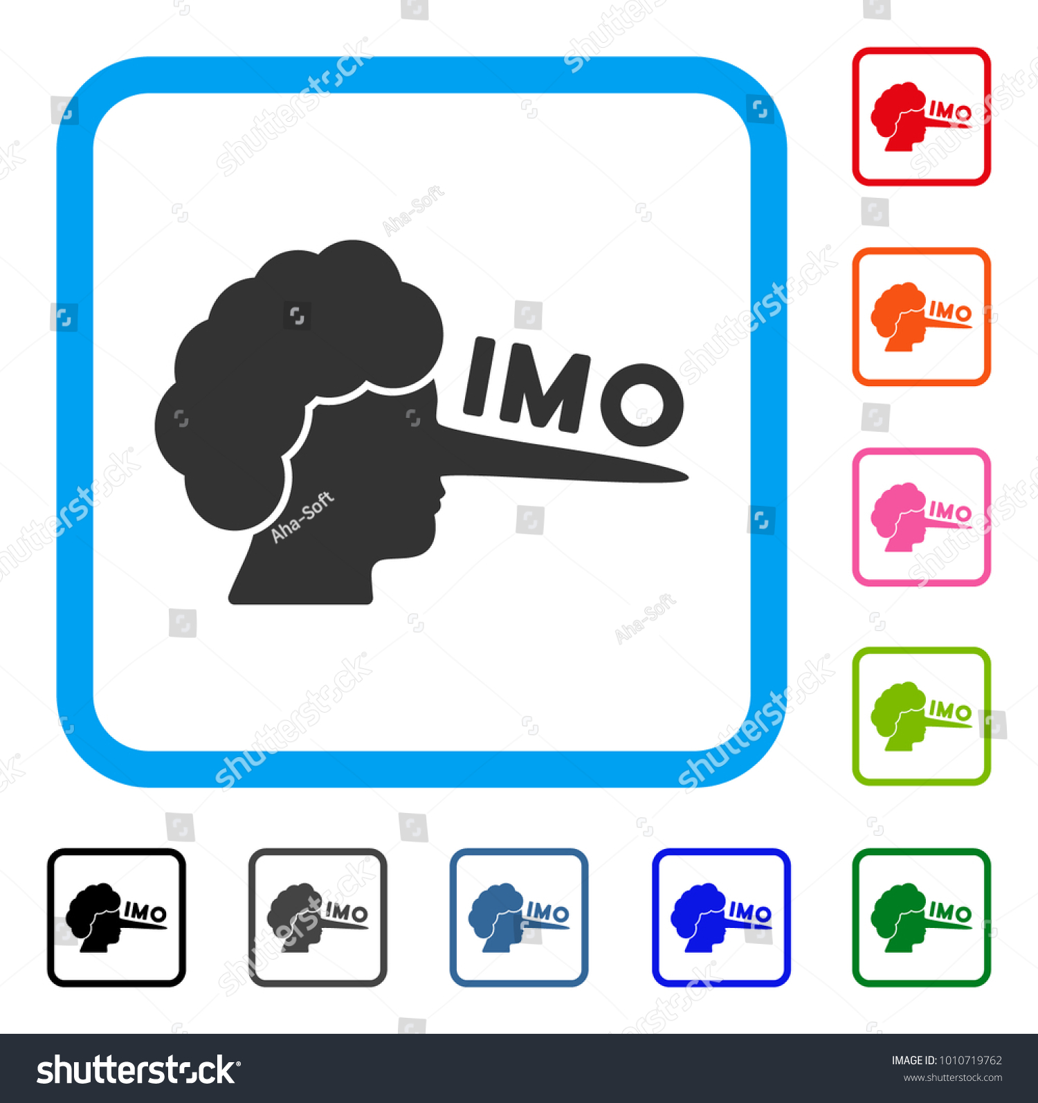 Imo Lier Icon Flat Grey Pictogram Stock Vector Royalty Free