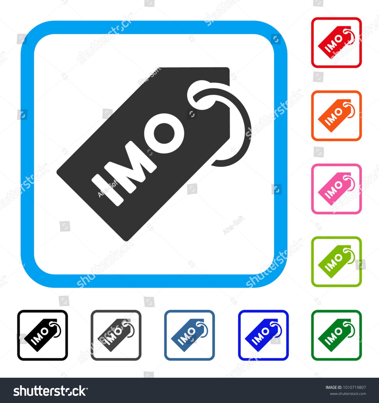 Imo Tag Icon Flat Gray Pictogram Stock Vector Royalty Free