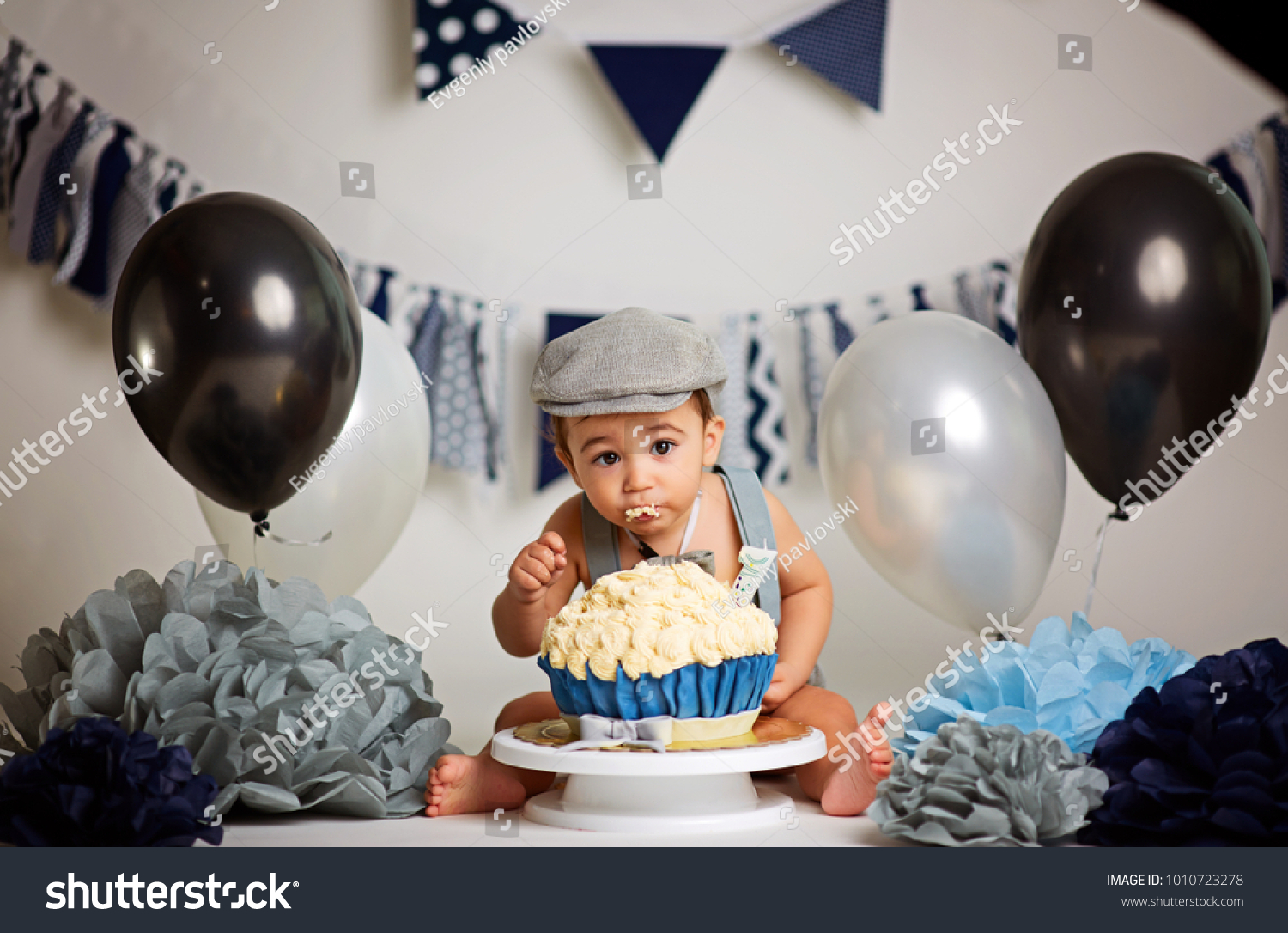 Pleasant Infant Boys First Birthday Cake Smash Stock Photo Edit Now Funny Birthday Cards Online Inifofree Goldxyz