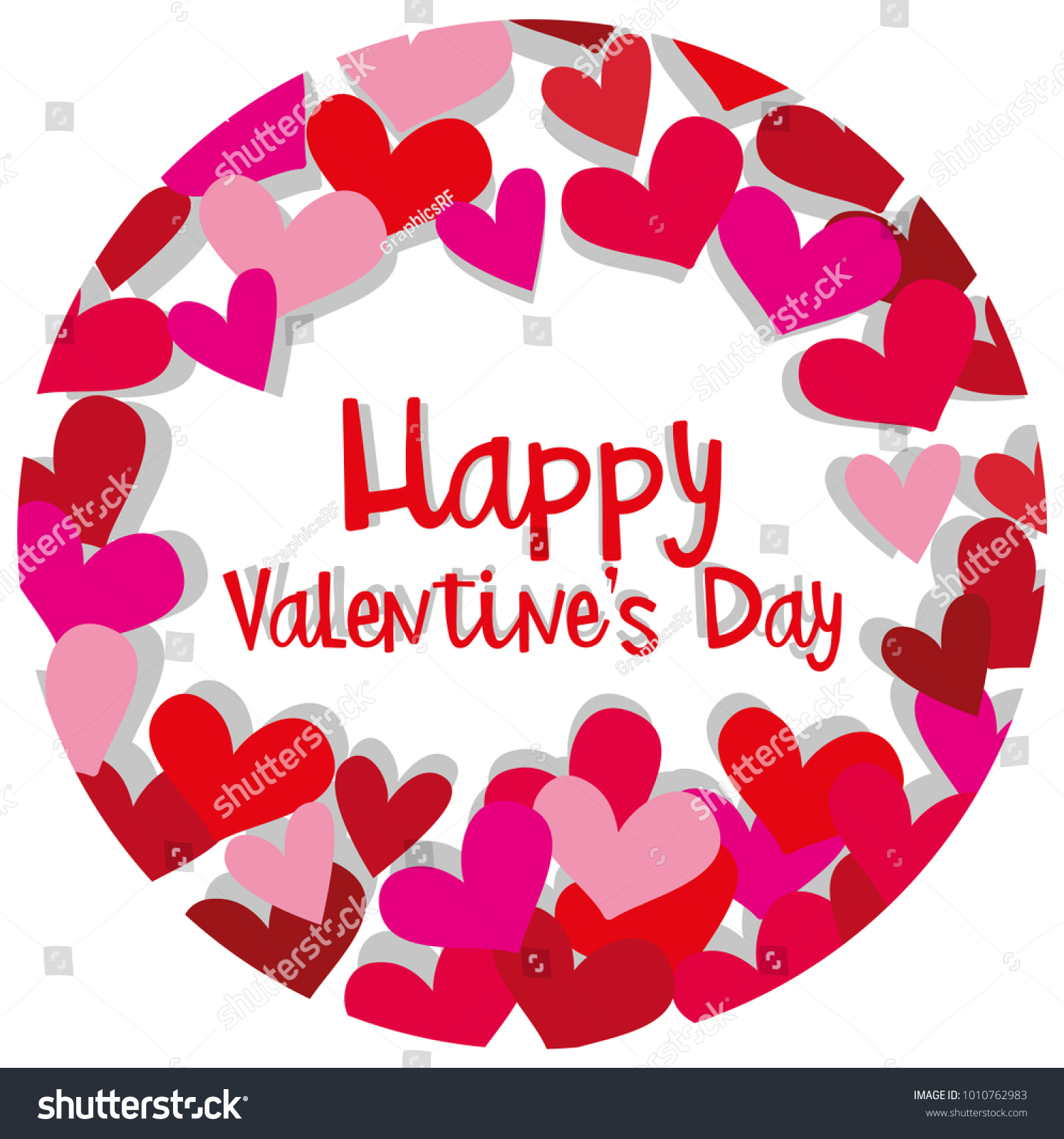 Happy Valentine Card Template Hearts Red Stock Vector Royalty Free
