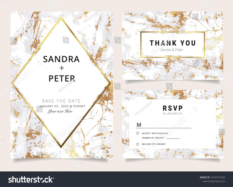 wedding invitation thank you card rsvp stock vector royalty free