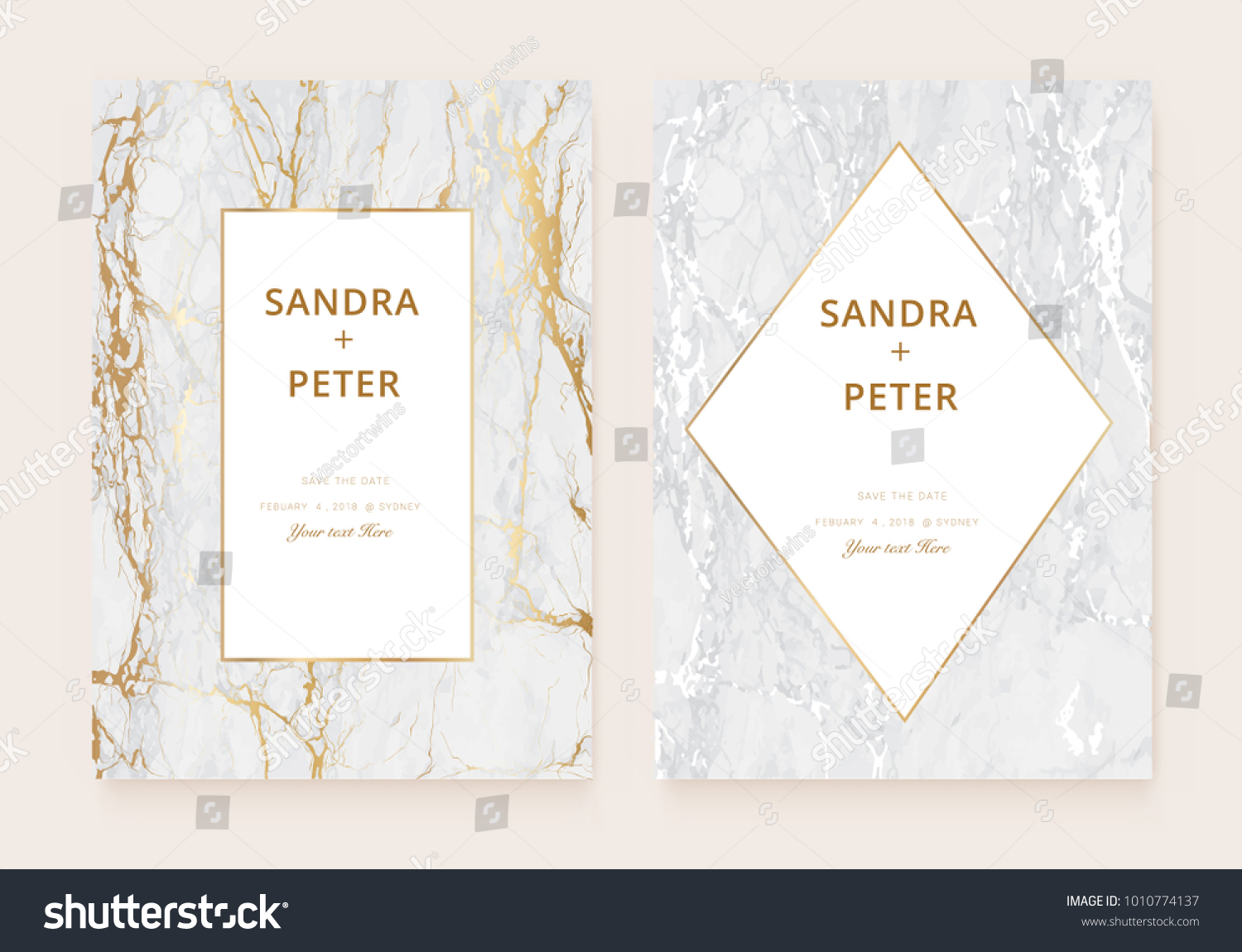 Luxury wedding invitation cards gold marble em vetor stock luxury wedding invitation cards with gold marble texture and golden geometric line vector illustration stopboris Images