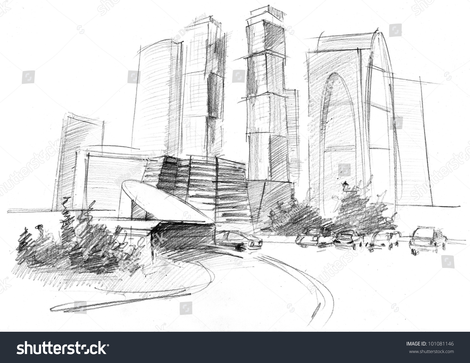 Pencil drawing of a big modern city stock photo 101081146 avopix com