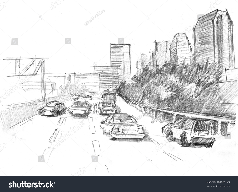pencil drawing big modern city intensive stock