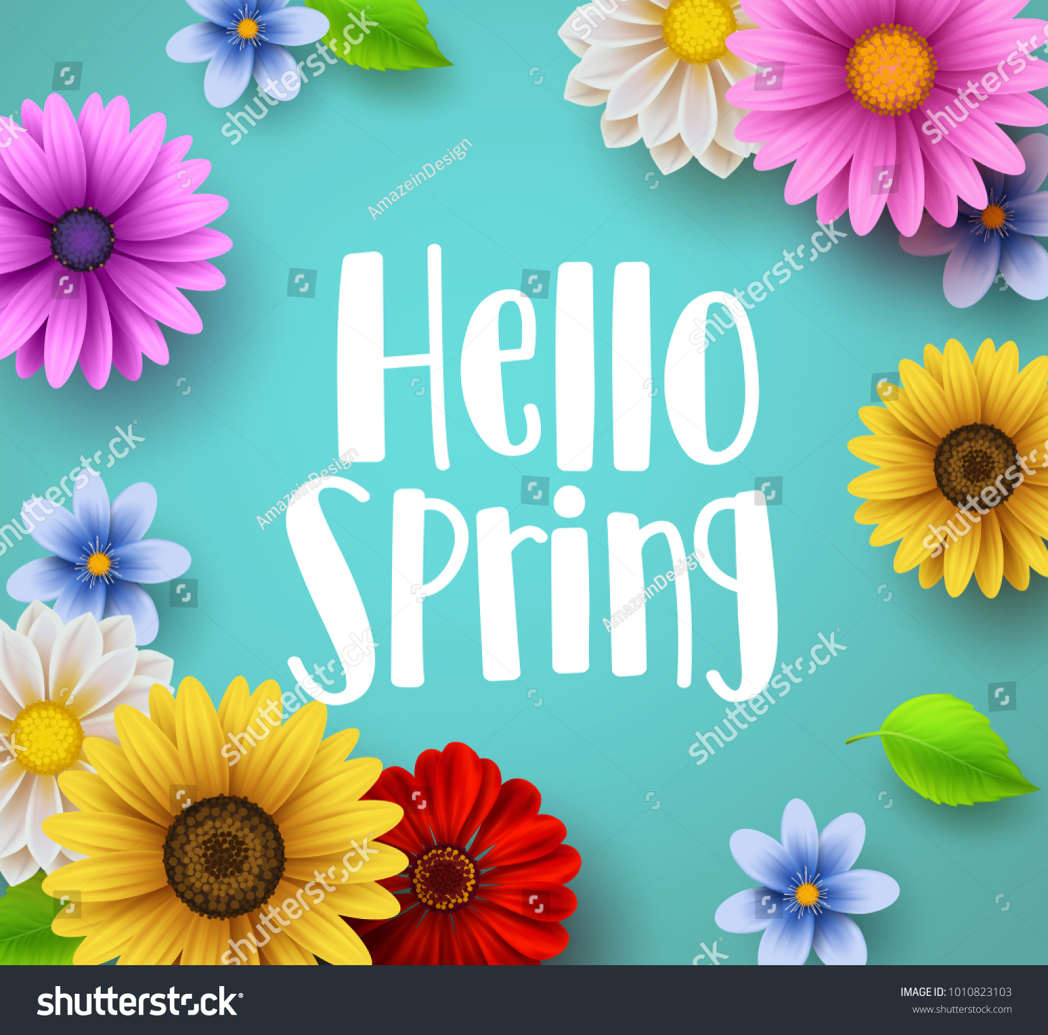 Hello Spring Text Vector Banner Greetings Stock Vector Royalty Free
